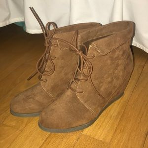 Madden Girl lace up wedge booties!
